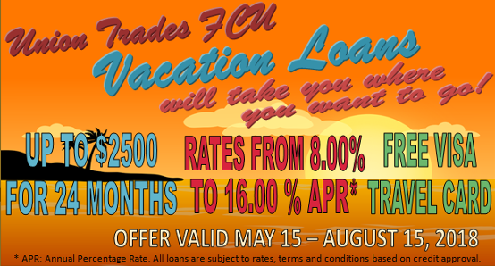 Vacation loan special.Up to $2500 for 24 months at 8% to 16% rates.